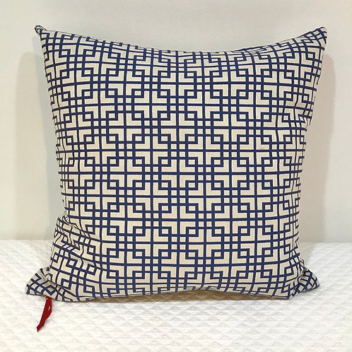 Geo Pillow - Blue & Cream