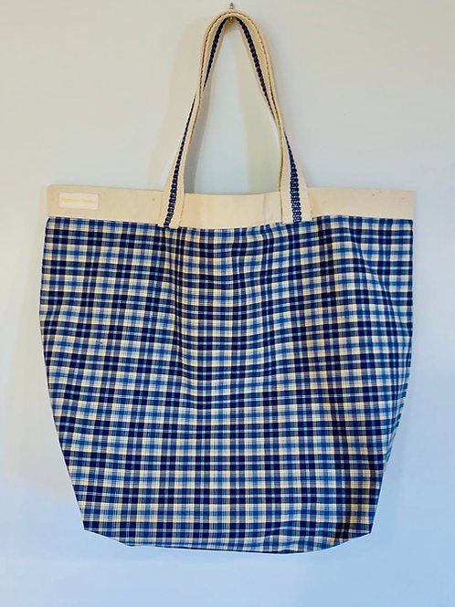 Big cotton plaid tote - made to order
