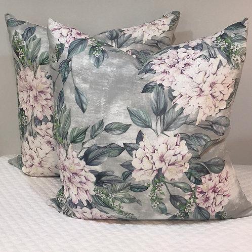 Linen Pale Green Floral Pillow