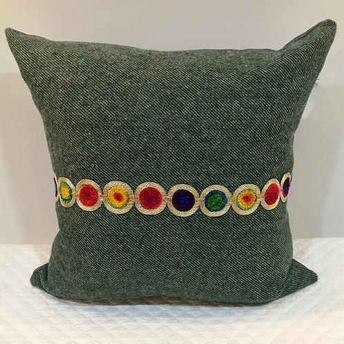 Green Wool Herringbone with Circle Trim