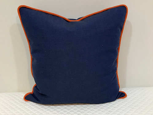 Blue Pillow with Orange Welt
