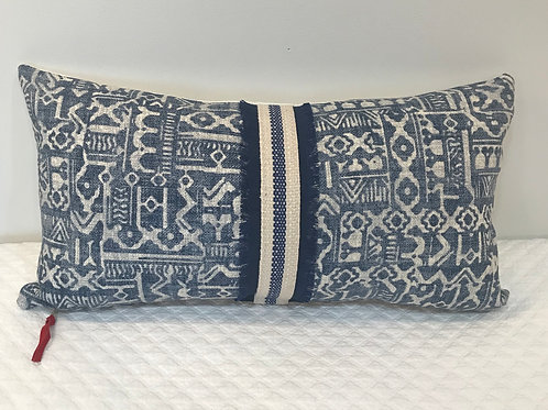 Blue & Light Gray Lumbar Pillow