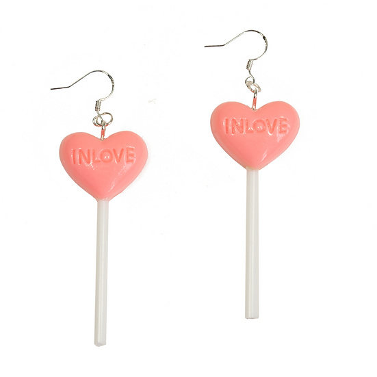 Pink Heart Love Candy Earrings