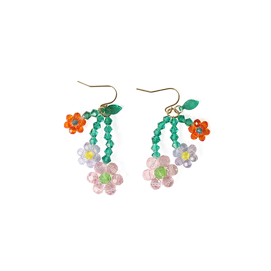 Handmade Beaded Colorful Flower Earrings