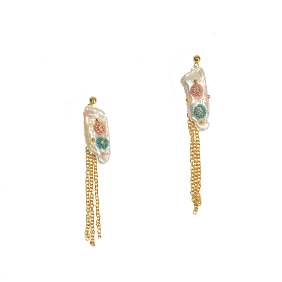 Baroque Pearl Tassel Earrings