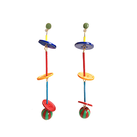 Colorful Fruity Buttons Long Earrings