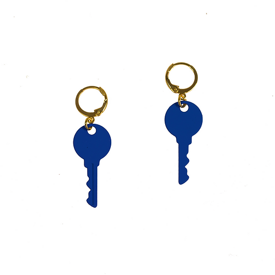 Blue Metal Key Earrings