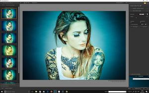 Bearbeitungsoberfläche von Color Efex Pro bei einem Portrait