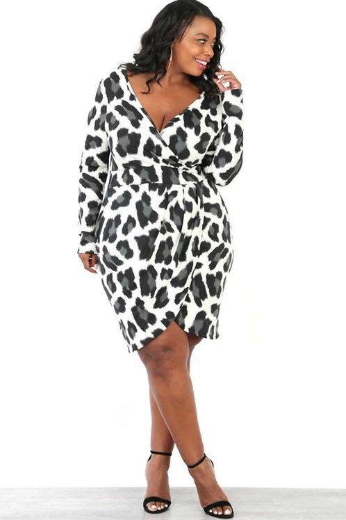 Grey Leopard Print Dress
