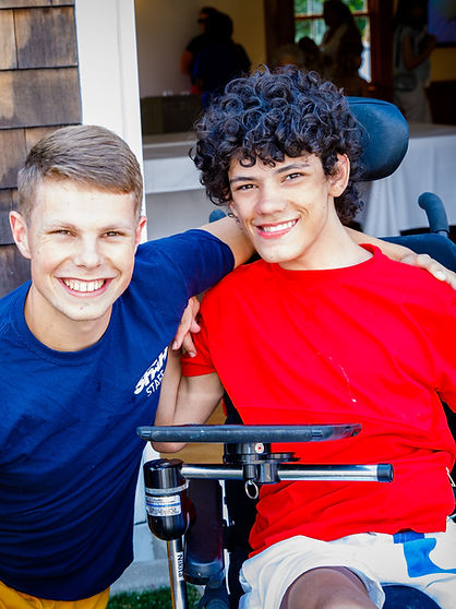 Special needs camper and counselor