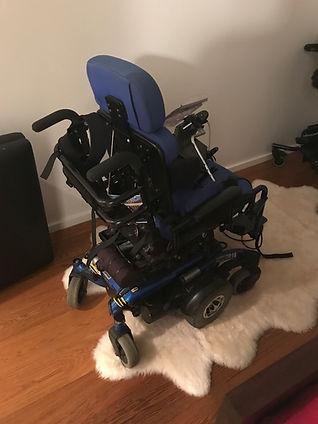 Blue power wheelchair