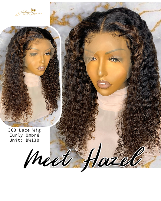 """Hazel"" Pre-plucked 360 Lace Frontal Wig Curly Virgin Human Hair (BW230)"