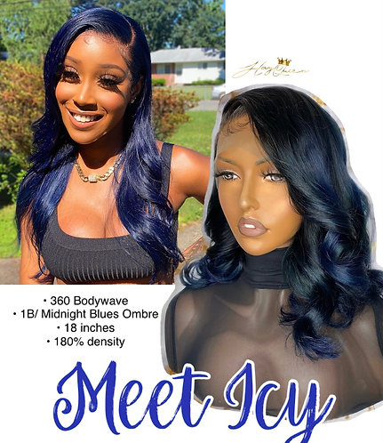 """""""Icy"""" Midnight Blue Body Wave 360 Wig (MB102)"""