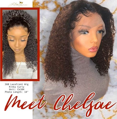 """""""Chelsae"""" Pre-plucked 360 Lace Frontal Wig Tight Kinky Indian Remy Hair (CK104)"""