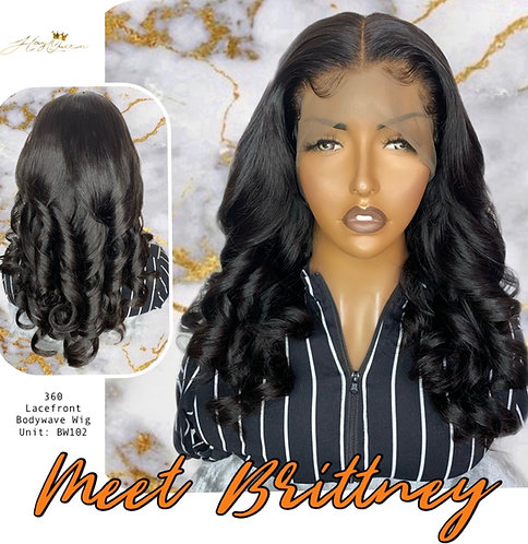 """""""Brittney"""" Pre-plucked 360 Lace Frontal Wig Body Wave Virgin Human Hair (BW102)"""