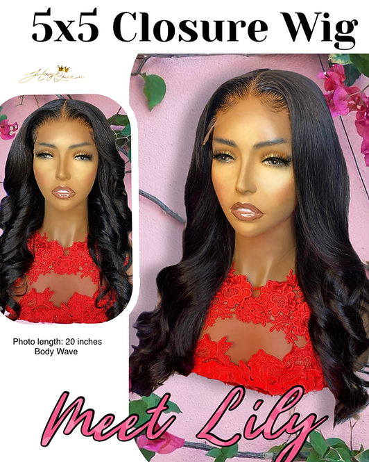 """""""Lily"""" Pre-plucked 5X5 Closure Wig Body Wave Virgin Human Hair"""