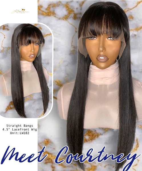 """""""Courtney"""" Silky Straight Lace w/ Bangs (Indian Hair) LW102"""