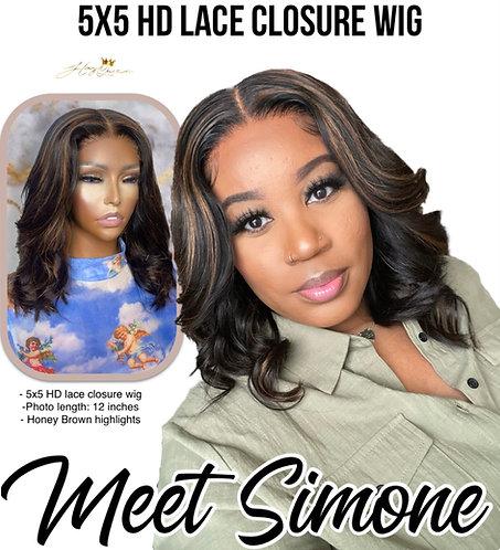 """Simone"" Pre-plucked 5X5 Closure Wig Body Wave Virgin Human Hair"