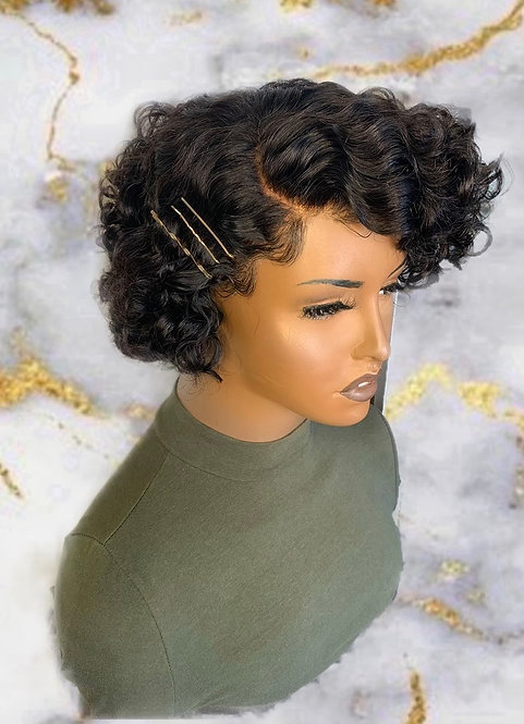 """Jada"" Pre-plucked Natural Curly Pixie Indian Remy BOB (Natural Pixie)"
