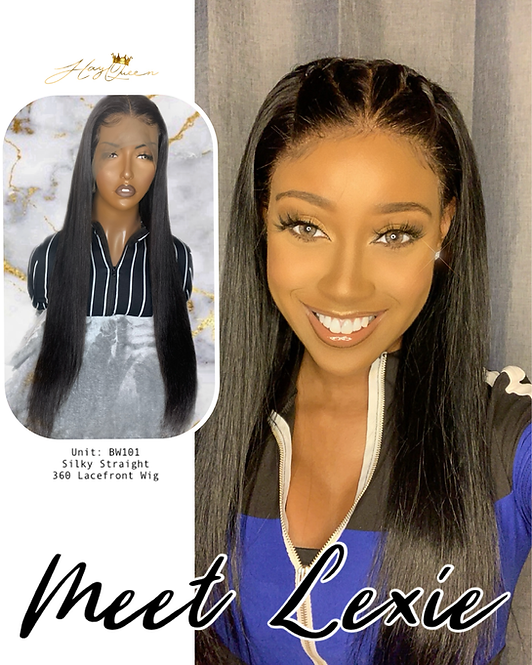 """""""Lexie"""" Pre-plucked 360 Lace Frontal Wig Straight Virgin Human Hair (BW101)"""