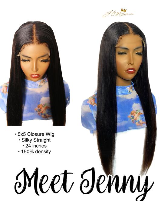 """Jenny"" Pre-plucked 5X5 Closure Wig Silky Straight Virgin Human Hair"
