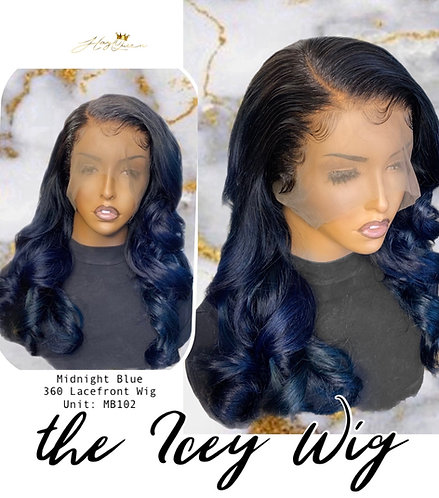 """Icy"" Midnight Blue Body Wave 360 Wig (MB102)"