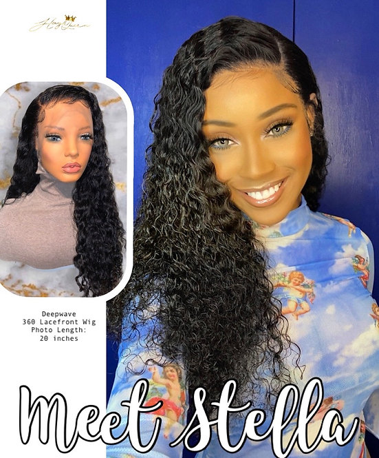"""""""Stella"""" Pre-plucked 360 Lace Frontal Wig Deep Wave Virgin Human Hair (BW104)"""