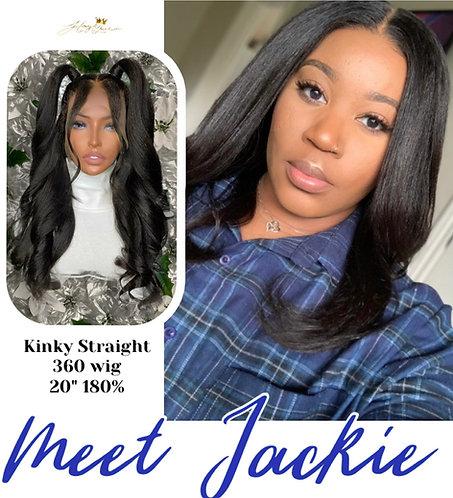 """Jackie"" Kinky Straight 360 Lace Frontal Wig Brazilian Virgin Hair (BW120)"