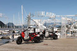 Scooters at the Gibsons Marina