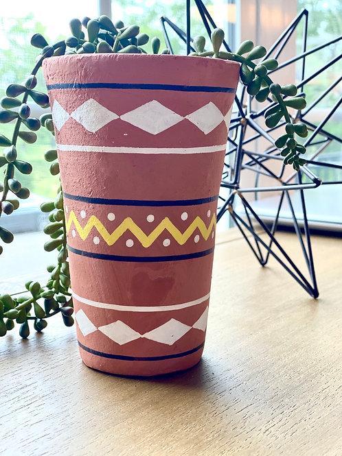Tall Terracotta Painted Pot