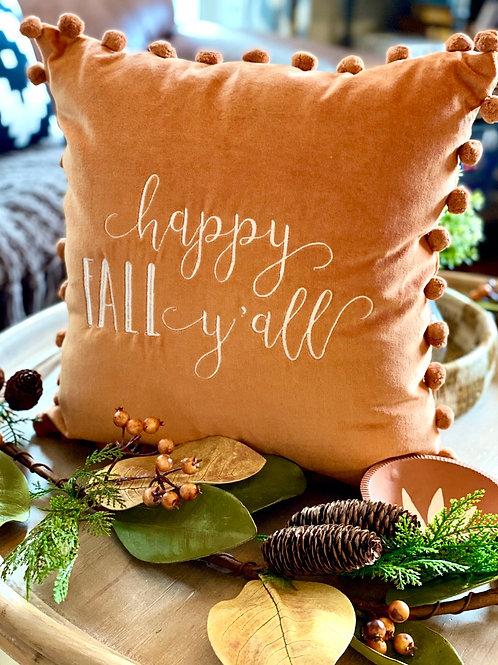 Happy Fall Pompom Pillow