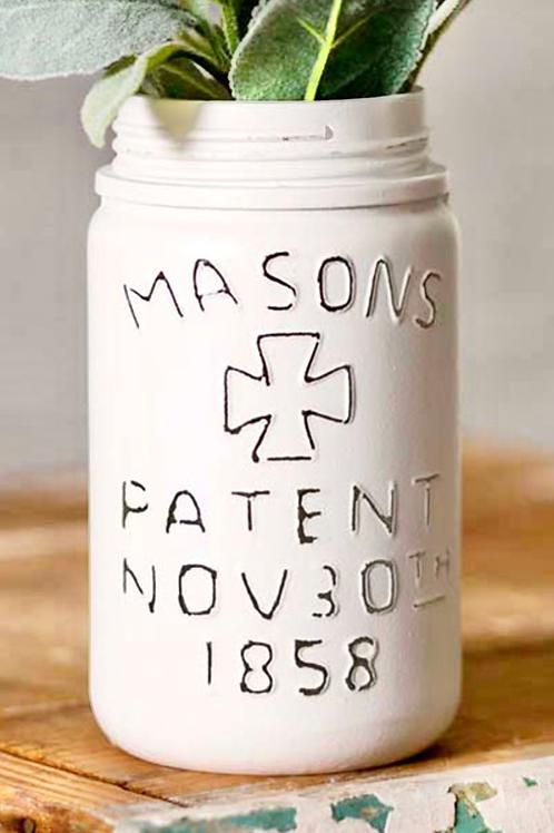 Vintage White Mason Jar