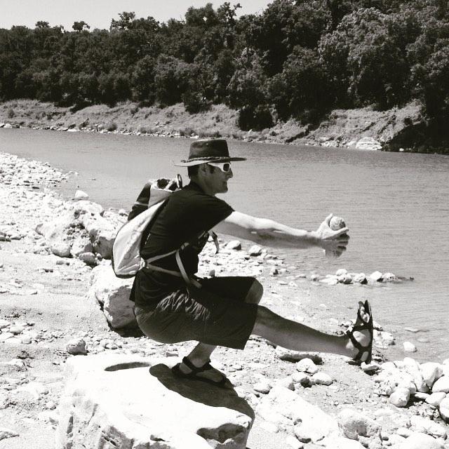 Pistol Squat with boulder at Pedernalas River close to Dripping Springs, Tx