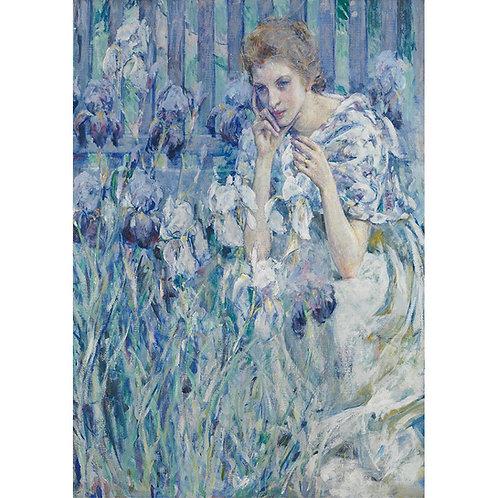 "Dekupāžas papīrs Mint by Michelle ""Woman with Irises"""