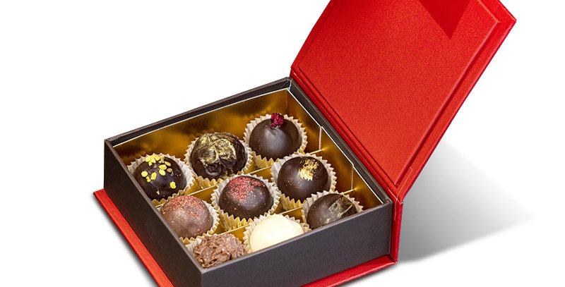 Šokolādes trifeļu kolekcija, 9 gab /sarkana kaste/