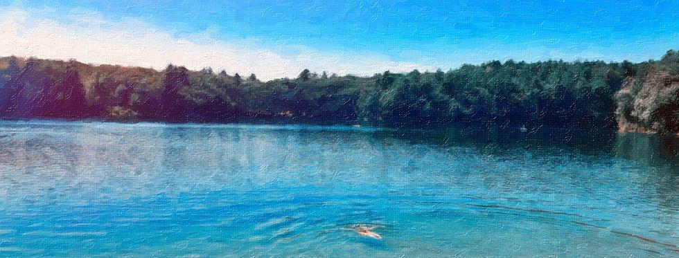 Walden pond 20 x 20 Impasto style