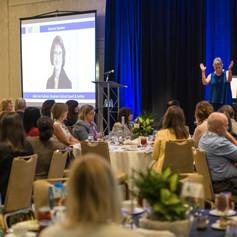 Keynote Speaker, Julie Ann Sullivan delivers her keynote address at the 2019 AWE Awards Luncheon