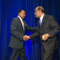 Mr. Harris welcomes Montgomery County Executive, Ike Leggett to the stage