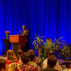 County Executive Ike Leggett congratulates the 2014 AWE Award Winners