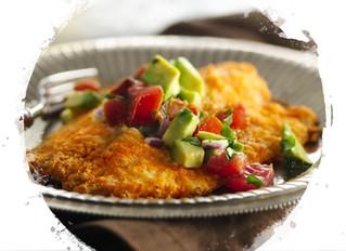 Flounder Bake with Tomato-Bacon-Avocado Salsa