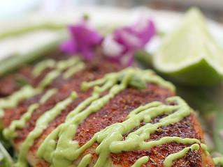 Blackened Rockfish with Avocado Sauce