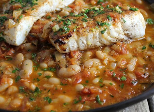 Pan Seared Halibut with White Bean Gremolata