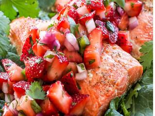 Grilled Salmon Strawberry Jalapeno Salsa