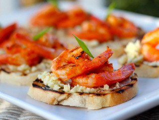 Grilled Buffalo Shrimp Crostini with Blue Cheese Butter