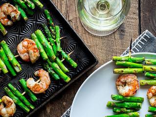 Garlic Shrimp & Asparagus Kebabs