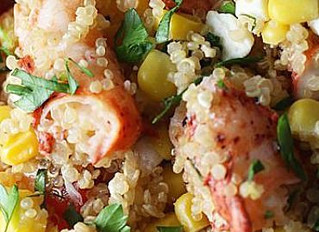 Quinoa Salad with Lobster, Grilled Corn, Cherry Tomatoes and Feta