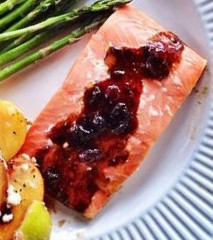 Cedar Plank Chardonnay Salmon with Cranberry Chipotle Sauce