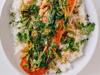 Seared Salmon with Soy, Scallions, and Ginger