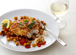 Almond Crusted Haddock with Roasted Peppers and Chickpeas