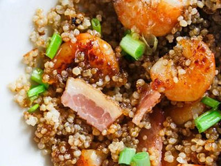 Apricot & Bacon Glazed Shrimp with Quinoa
